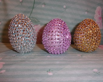Set of 3 Rhinestone Easter Eggs  - Pink Gold Silver OOAK