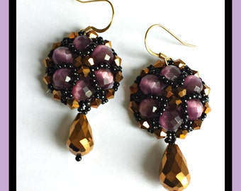 Bronze and purple colour earrings