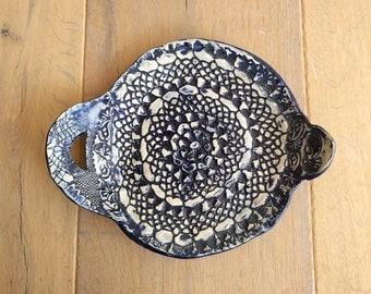 Blue lace platter