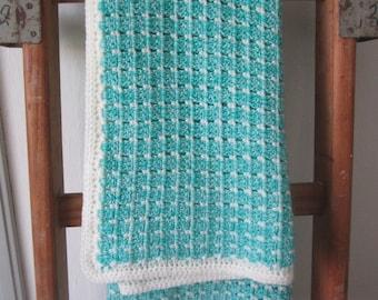 Crochet - Baby Blanket - aqua green