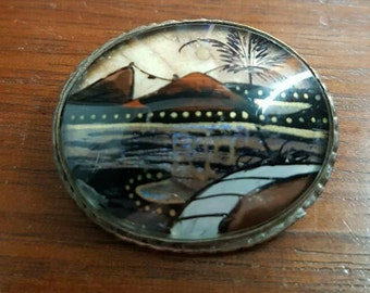 A Rio Butterfly Wing Tourist Brooch by Alfano