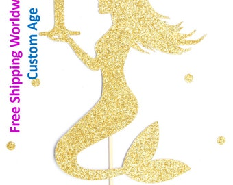 Gold Glitter Mermaid Cake Topper personalised with age - birthday, cake smash, photo prop