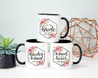 Bridal Party Mug Set, Bridal Party Gifts, Bridal Party Mugs, Bride Mug, Maid of Honor Mug, Bridesmaid Mug, Rose Gold Rebel, Wedding Mugs
