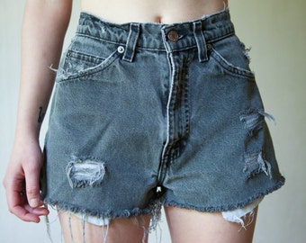 Faded Black Distressed Levi Shorts
