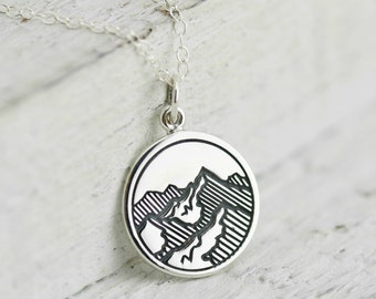 Mountain Necklace - Sterling Silver Etched Mountain Charm Necklace - Mountain Range Pendant - Hiking Necklace - Gift for Hiker Ski Necklace