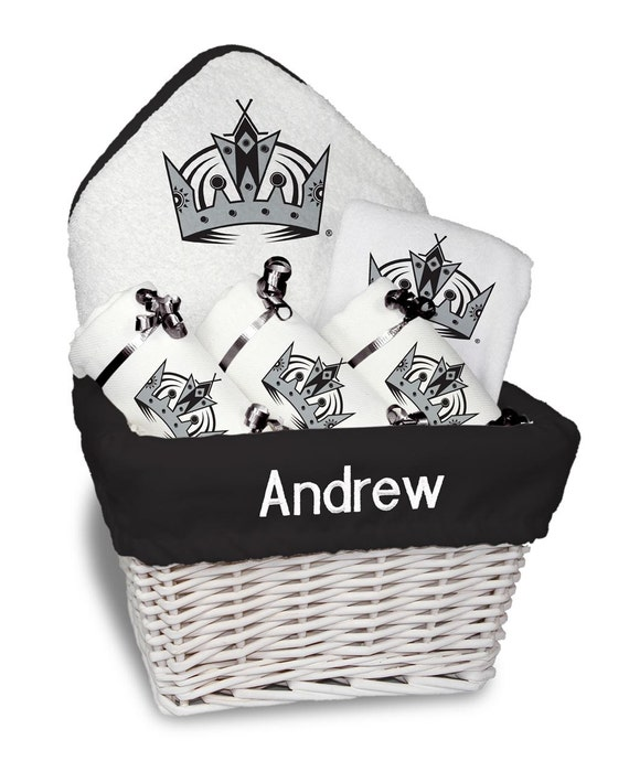 Baby Gift Basket Etsy : Personalized los angeles kings baby gift basket bib burp