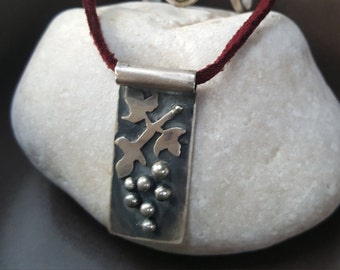 Ancient grape pendant sterling silver