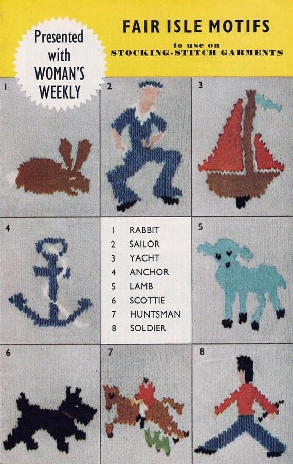 Vintage Knitting Pattern 8 Fair Isle Motifs Including Rabbit