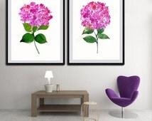 Hydrangeas Watercolor Art Prints - Set of 2 Pink  Hydrangeas Floral Art - Wall Decor Gift Idea for Anniversary, Birthday or Housewarming