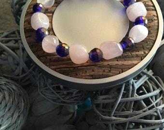 rose quartz and bead bracelet