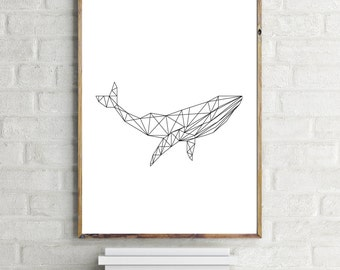 Whale Art Print, Geometric Whale Print, Minimalist Art Print, Instant Download Printable Art