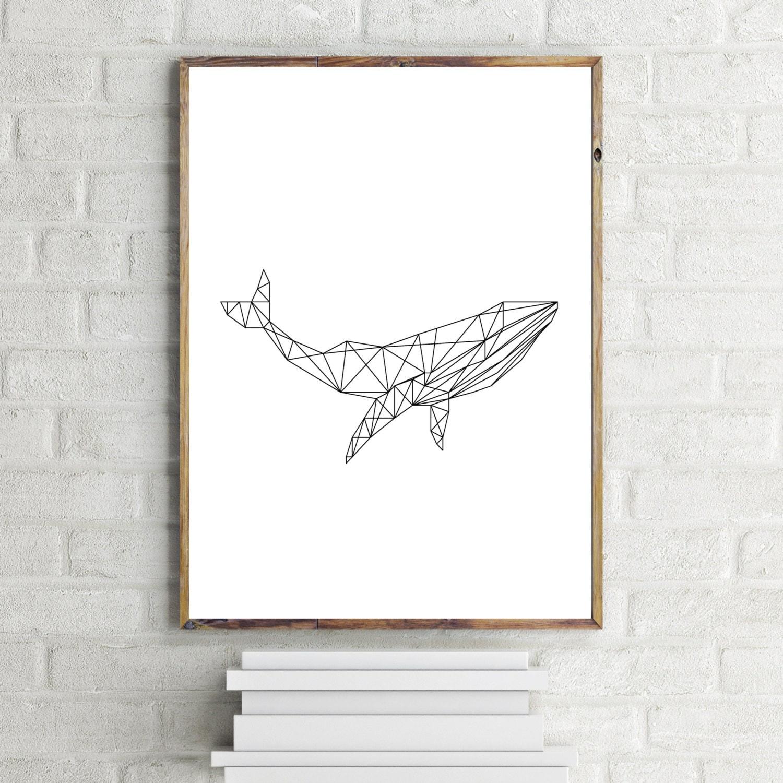 Whale art print geometric whale print minimalist art print for Minimalist art decor