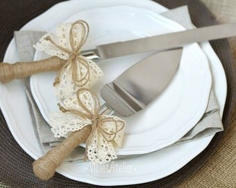 Cake Cutting Set, Rustic Wedding Cake Serving Set, Lace Ribbon Cake Knife and Server, Bride and Groom Wedding Cake Set, Cake Cutters Rustic