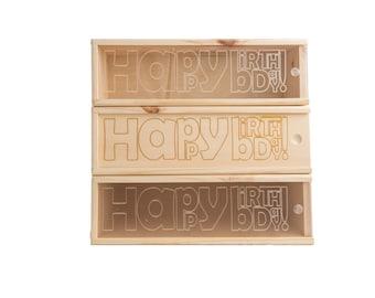 Wooden Wine Box (single) - Happy birthday