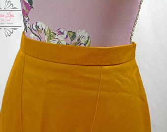 Vintage Mustard Pencil Skirt Size S