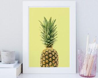 Pineapple wall art, tropical art print, fruit print, fruit decor, pineapple wall art, Kitchen wall art, Office wall art, Nursery, printable