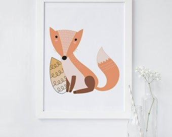 Fox print, Fox wall art, fox nursery decor, wood land animal art, Printable wall art, red fox art, cute fox wall art, instant download