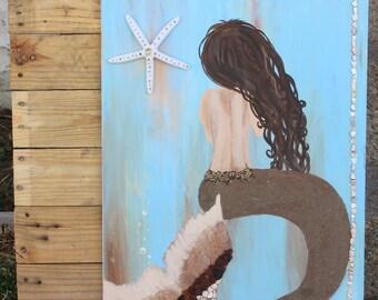 LARGE Dark Haired Mixed Media Mermaid Wall Art