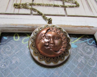 Sun and moon tapestry Antique locket necklace