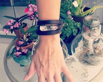 Leather & Quartz Point Wrap Bracelet