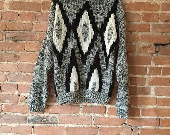 Vintage Mono-Argyle Print Sweater