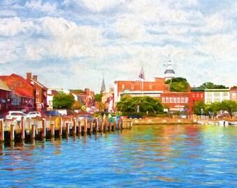 Annapolis,  Annapolis Dock, City Dock, Historic Waterfront, Chesapeake Bay, Scenic Harbor, Fine Art, Urban Street, Historic Buildings
