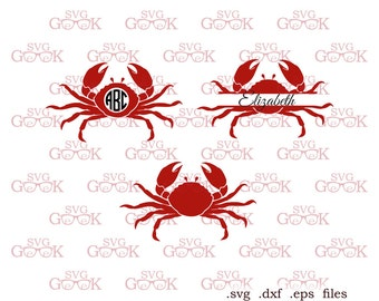 Crab svg dxf cut files, Crab Monogram Frame SVG cut files for Cricut and Silhouette, svg dxf files