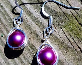 Purple herringbone wrapped earrings