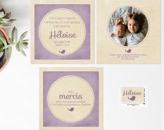 Announcements and stationery birth Vintage violet