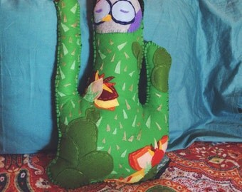 large cactus with flowers and sleepong owl felt pillow
