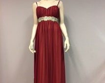 Burgundy Chiffon Dress Gold belt Summer Beach Wedding Party Gown Bridesmaid Gown Elegant Mother of the bride Formal wear