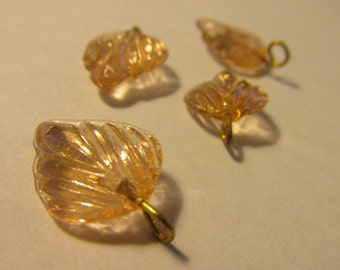 Vintage Mini Glass Leaf-Shaped Beads with Gold Tone Metal Bails, 15mm, Set of 4