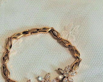 Bridal bracelet, wedding bracelet, gold filled,  Swarovski
