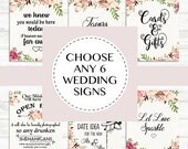 Wedding Sign Set, Custom Wedding Sign Printable, Printable Wedding Signs, Floral Wedding Print, Multiple Wedding Sign, Floral Custom Wedding