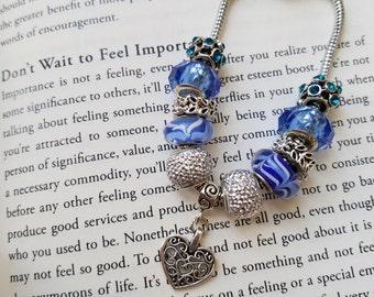 Stainless Steel Blue Heart Charm Bracelet-Free Shipping