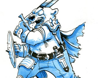 Original ink illustration - Warrior