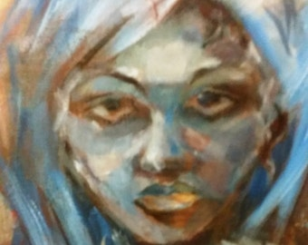 Portrait of a girl in a blue wig