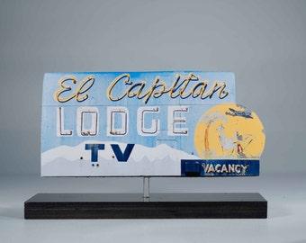 El Capitan Lodge neon sign photo / motel sign / vintage motel sign / roadside art / retro motel sign / neon sign photo / retro sign