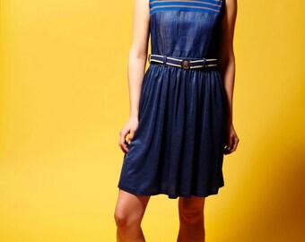 Navy Dress, Summer Dress, Spring Mini Dress, Sleeveless Dress, Midi Dress, Plus Size Dress, Oversize Dress, Denim Dress, Pleated Dress