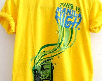 Mens Manila High t-shirt canary yellow size M music tshirt radio Manila graphic tee for men deadstock size M