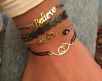 Evil Eye Bracelet, Evil Eye Charm, Evil Eye Jewelry, Star Bracelet, Believe Bracelet, Hematite Bracelet, Gift for Her.