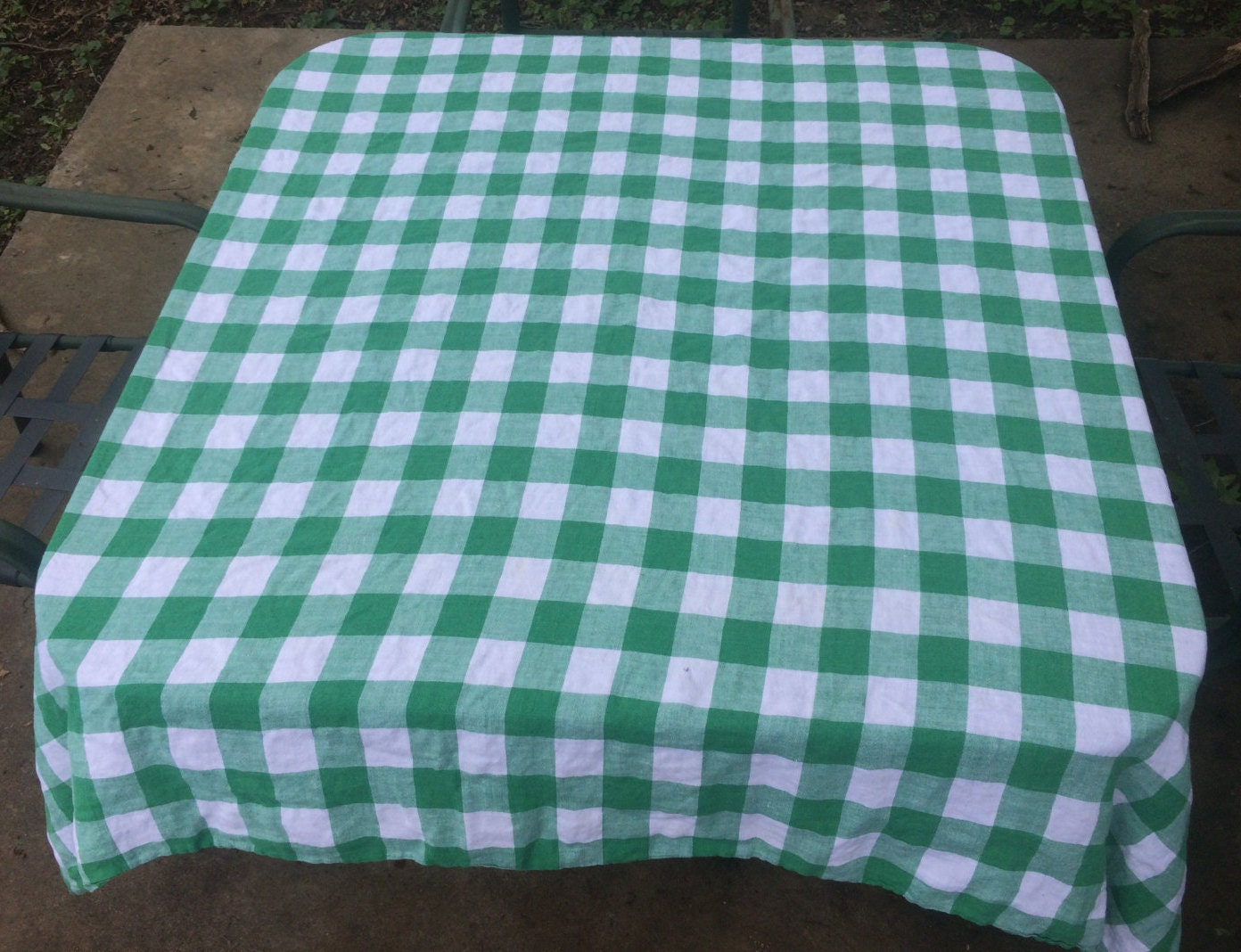 Gingham Green And White Checkered Tablecloth Vintage Gingham