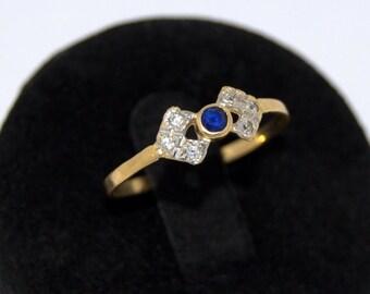 Sapphire Diamond Gold Ring sapphire ring small Bun bright Oro18k