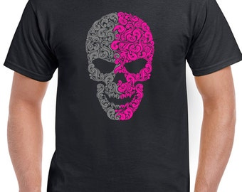 Two Pattern Skull - Mens motorbike Biker T-Shirt