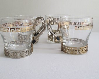 Vintage Libby Greek Key Glasses Set of 4