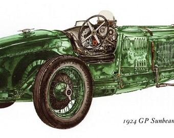 Antique Car Vintage Bookplate Print *1924 G P Sunbeam* Vintage Motorcars Colorful, Detailed Peter Griffin Illustration Home Decor
