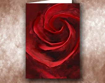 Unfurling Beauty Greeting Card.  Red Rose, Flowers, Floral