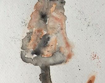 4x6 print of watercolor cat