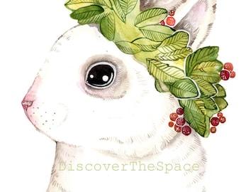 Bunny Watercolor Print Rabbit Wall Decor Bunny Print Art Rabbit Nursery Print Bunny Boho Print Art