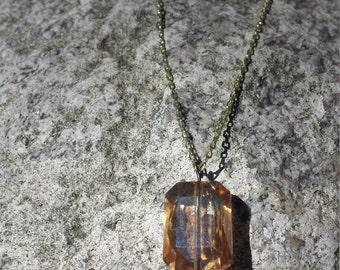 Peach glass pendant necklace